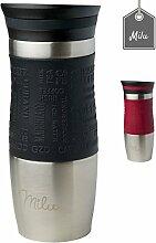 Milu® Thermobecher 370ml - 100% Auslaufsicher - Isolierbecher aus Edelstahl - Autobecher - Trinkbecher - Kaffeebecher to go - Schwarz