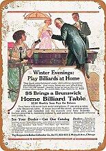 MiMiTee Billiards Blechschild Vintage Metall