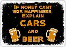 MiMiTee Cars and Beer Blechschild Vintage Metall