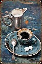 MiMiTee Coffee Blechschild Vintage Metall