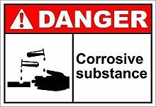 MiMiTee Corrosive Substance Danger Blechschild