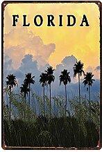 MiMiTee Florida Trees Blechschild Vintage Metall