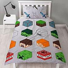 Minecraft Pixel Bettbezug für Einzelbett,