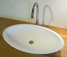 Mineralguss Stein Waschbecken weiß matt oval Solid Stone