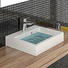 Mineralguss Waschbecken Handwaschbecken Eckig Waschtisch 50 cm Badezimmer