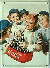 Mini-Blechschild Coca Cola - Bauchladen, 8 x 11 cm