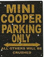 Mini Cooper Metall Parking Rustikaler Stil den großen 30,5x 40,6cm 30x 40cm Auto Schuppen Dose Garage Werkstatt Art Wand Spiele Raum