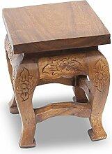 Mini Hocker Holzhocker Beistelltisch Nachttisch Blumenhocker ca 21x21 cm Eckig Akazien Holz Barock Braun