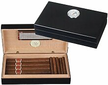 Mini Humidor Pianolack schwarz + Firelighter