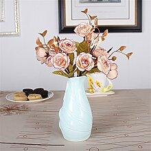 Mini Keramik Vase, A, Blau für Mittelstücke Wohnzimmer Weihnachten Geburtstag Hochzeit Party Geschenk Desktop Home Decor