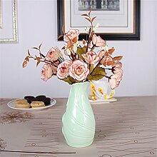 Mini Keramik Vase, A, Grün für Mittelstücke Wohnzimmer Weihnachten Geburtstag Hochzeit Party Geschenk Desktop Home Decor