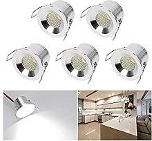Mini Klein Einbaustrahler LED Set 5er, Audor 3W