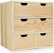 Mini-Kommode aus Holz mit 6 Schubladen   Basteln &