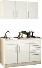 Mini-Küche in Hochglanz Creme Breite 120 cm