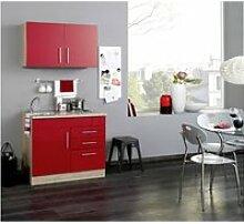 Mini-Küche TERAMO-03 Rot Hochglanz/Eiche-Sonoma B