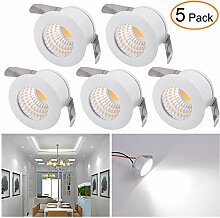 Mini LED Einbaustrahler Set 5er, Audor 3W LED