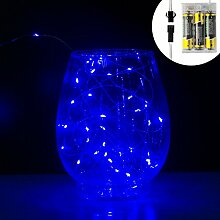 Mini-Lichterkette, LED, resistent gegen Wasser, Kupferkabel, 3m blau