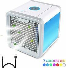 Mini Luftkühler Air Cooler,Cubewit Luftbefeuchter Luftreiniger Mobile Klimageräte Tischklimaanlage Klein 3 Stufe Ventilator 7 Farben LED Nachtlich