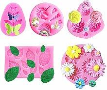 Mini-Silikonform mit Einhorn-Motiv, Blumen,