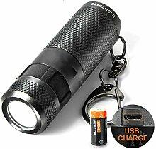 Mini-Taschenlampe, wasserdicht, wiederaufladbar,