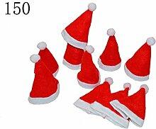 Mini Tischdekoration Weihnachtsmannmütze Besteckhalter für Weihnachten (150 Stück)