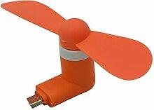 Mini USB Ventilator , Portable USB Telefon Fan mit zwei Blättern für Andriod Smartphone Orange