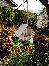 Mini Vogelhaus Vogelhäuschen silber Garten Balkon
