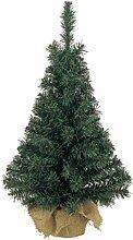 Mini Weihnachtsbaum im Jutesack | Kunststoff grün | biegsame Zweige | 75 cm