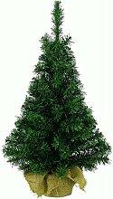 Mini Weihnachtsbaum im Jutesack | Kunststoff grün | biegsame Zweige | 90 cm