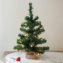 Mini Weihnachtsbaum mit 20er LED Lichterkette warmweiß Batteriebetrieb 40cm