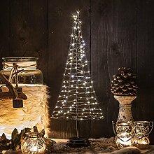 Mini Weihnachtsbaum Pyramide 50 cm aus Metall mit LED Lichterkette Deko beleuchte