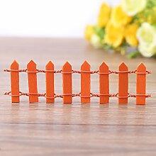 Mini Zaun Garten Barrier Holz Künstliche Miniatur Welt Bonsai Dekoration 5 Reihen(Orange)