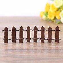 Mini Zaun Garten Barrier Holz Künstliche Miniatur Welt Bonsai Dekoration 5 Reihen(Coffee)