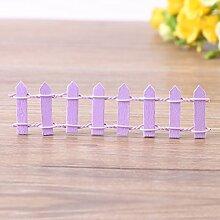 Mini Zaun Garten Barrier Holz Künstliche Miniatur Welt Bonsai Dekoration 5 Reihen(Purple)