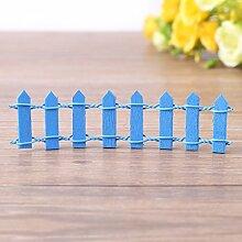 Mini Zaun Garten Barrier Holz Künstliche Miniatur Welt Bonsai Dekoration 5 Reihen(Blue)