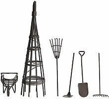 Miniatur Garten Welt 6er Set Braun aus Metall mit Rechen, Schubkarre und Schaufel