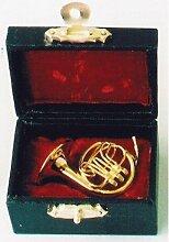 Miniatur Puppenhaus 1:12, nostalgische Accessoires, Horn in schwarzem Koffer Miniatur