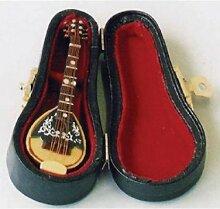 Miniatur Puppenhaus 1:12, nostalgische Accessoires, Mandolien in schwarzem Koffer, Miniatur
