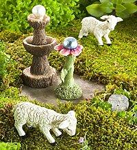Miniatur Schaf Fairy Garden, Gazing Ball und Springbrunnen Se