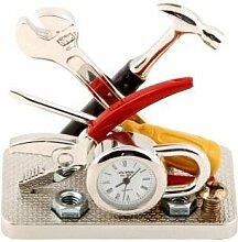 Miniatur-Uhr Werkzeuge und Vorhängeschloss in personalisierter Geschenkbox inklusive Gravur