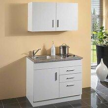 Miniküche 100 cm Küchenzeile weiss Pharao24