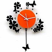 Minimalist Wohnzimmer Wanduhr Creative Arts stumm geschaltet pastoral Quarzuhr Uhr Swing Schmetterling Schmetterlinge