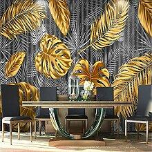 Minimalistische tropische Pflanze Wandbild Golden