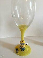 Minions Glitzer-Weinglas gelb mit Karton
