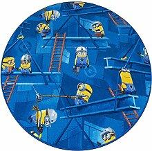 Minions Kinderteppich Spielteppich Mädchen Jungen blau rund 133cm