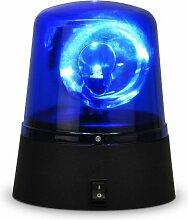 MiniSun – Moderne und batteriebetriebene Lampe mit einem blauen Finish im rotierenden Polizeisirenestil – Partyleuchte