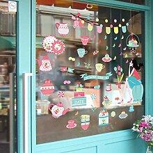 MiniWall Sie können die Wand Aufkleber Animation Geschäfte Showcase Glasoberfläche Cartoon Wasserkocher Geschirr Tassen Kuchen Prinzessin entfernen Warm
