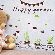 MiniWall Sie können die Wand Aufkleber Animation grüne Blumentöpfe Topfpflanzen Cactus Huhn geflieste Wände Ecke Dekorationen, 144*447 Cm entfernen