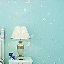 MINRAN DECOR Selbstklebend Fluoreszierende Tapete Kinder Tapete 002, blau, 3m , Blue