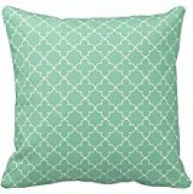 Mint Green and White Moroccan Quatrefoil Design Pillows Classic Chevron Stripes Pattern For Decoration Zipper Pillow Case Cover